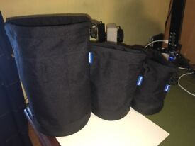 OLYMPUS CAMERA LENS POUCHES x 3: