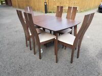 Julian Bowen Solid Walnut Extending Table & 6 Caymen Dining Chairs FREE DELIVERY 744