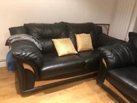 4 leather sofas - Black & beach wood