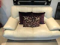 Italian white 2 x 2 seater sofa & 1 3 seater sofa with 9 decorative cushions