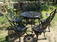 CAST ALUMINIUM GARDEN / PATIO SET -- TABLE AND 6 CROWN TOP CHAIRS --