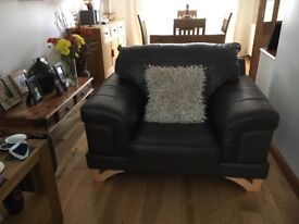 Leather snuggle chair & two seater sofa ( brown) in excellent condition