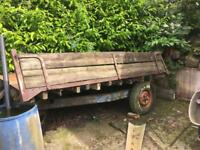 Old tractor tipper trailer