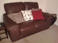 2 Seater Brown Leather Sofa - DELIVERY AVAILABLE