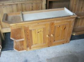 MODERN SOLID PINE KITCHEN CABINET WITH CORNER OPEN SHELVING ATTACHED. VIEWING/DELIVERY AVAILABLE
