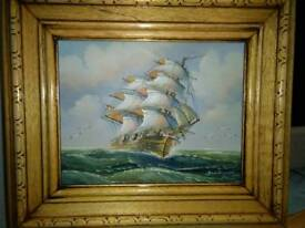OIL PAINTING OF GALLEON , IN FULL SAIL ON THE HIGH SEAS