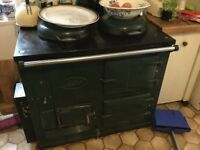 AGA 1950s solid fuel converted to gas. Green.