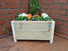 Handmade 45cm rectangle decking planter with plastic trough included.