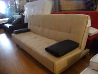 Beige Fabric Sofa Bed With Brown Faux Leather Contrast Cushions