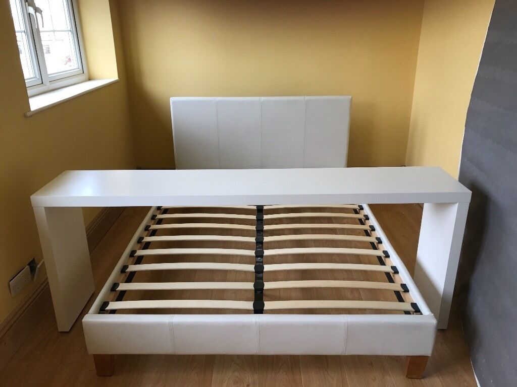Ikea Malm White Double Bed Over Bed Table In