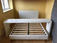 Ikea Malm White Double Bed + Over bed table