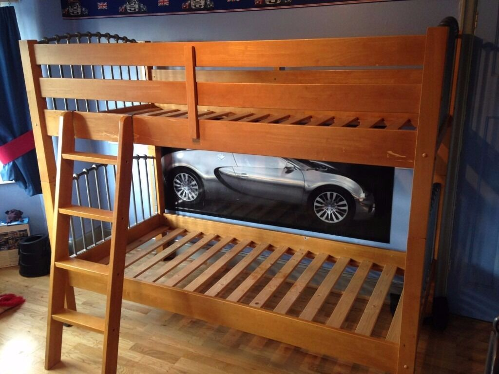 Solid Wood Metal Bunk Beds No Mattresses Reasonable Condition With