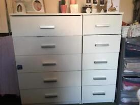2 sets of white drawers
