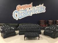 Original Chesterfield 4 Piece Suite Dark Blue