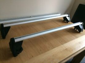 Vauxhall Corsa lockable roof bars and 2 cycle carriers.