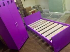 BRAND NEW BOXED KIDS BEDROOM SET COMPRISING BED AND WARDROBE IN PURPLE BARGAIN !!!