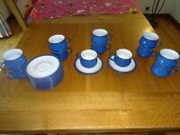 Denby Imperial Blue 12 cups and saucers