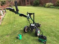 Hill Billy Electric Golf Trolley, with battery, charger and brolly holder