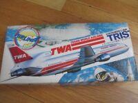 Hasegawa Plastic Aircraft Model Kit, Trans World Airlines (TWA) Lockheed L-1011 Tristar, Scale 1/200