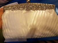 Brand new ivory satin & Diamonte clutch bag