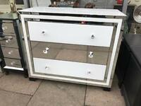 White & Mirrored Chest Of Drawers