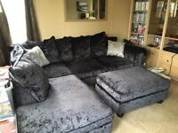 Crushed velvet Laurence Llewelyn Bowen corner sofa with chair and footstool