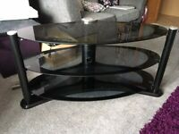 Oval Three Tier Glass TV stand suitable for up to 50in flat screen TV