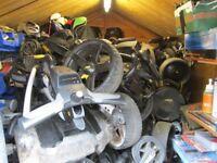 electric golf trolleys,powakaddy,motokaddy,hillbilly,and many more models for sale.