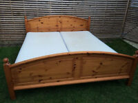 Large solid pine bed with mattress, 188cm wide
