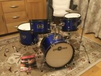 Junior 5 piece drum kit with adjustable stool as new cost £180 sell for £75