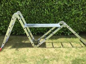 Folding,extending aluminium ladder complete with standing boards,ideal for DIY jobs around the home