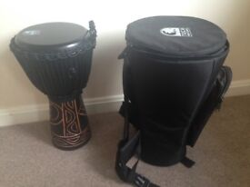 "Toca Percussion Black Mamba 10"" djembe plus padded carry case"