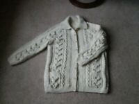 Beautiful new hand-knitted arran cardigan with pockets
