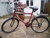 City bicycle/bike with mudguards, pannier rack and kickstand