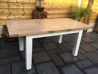 Solid Oak / White, New Extending Dining Table.