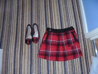 Tartan skirt and shoes age 8 and size 2