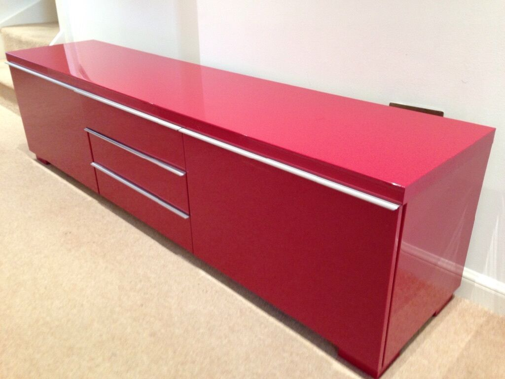 Ikea Besta Burs High Gloss Red Tv Unit