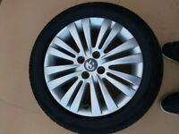 alloy wheels and tyres set of 4 , 16 ins
