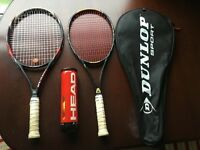 2 tennis racquets and balls unopened