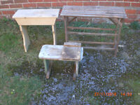 3 Old Wooden stools/racks