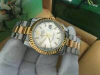 New Swiss Men's Rolex Datejust Perpetual Automatic Watch, Silver Dial two tone