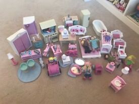 Girls wooden Dolls house pink / white with accessories