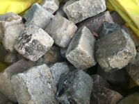 "RECLAIMED RANDOM 8 X 6 X 4"" GREY GRANITE SETTS - 100 PER BAG @ £145.00"