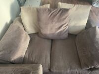 SCS two seater grey and cream sofa