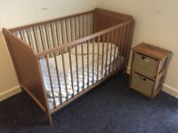 IKEA baby cot + side drawers