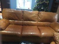 Beautifully Made Italian Leather 3 seater sofa