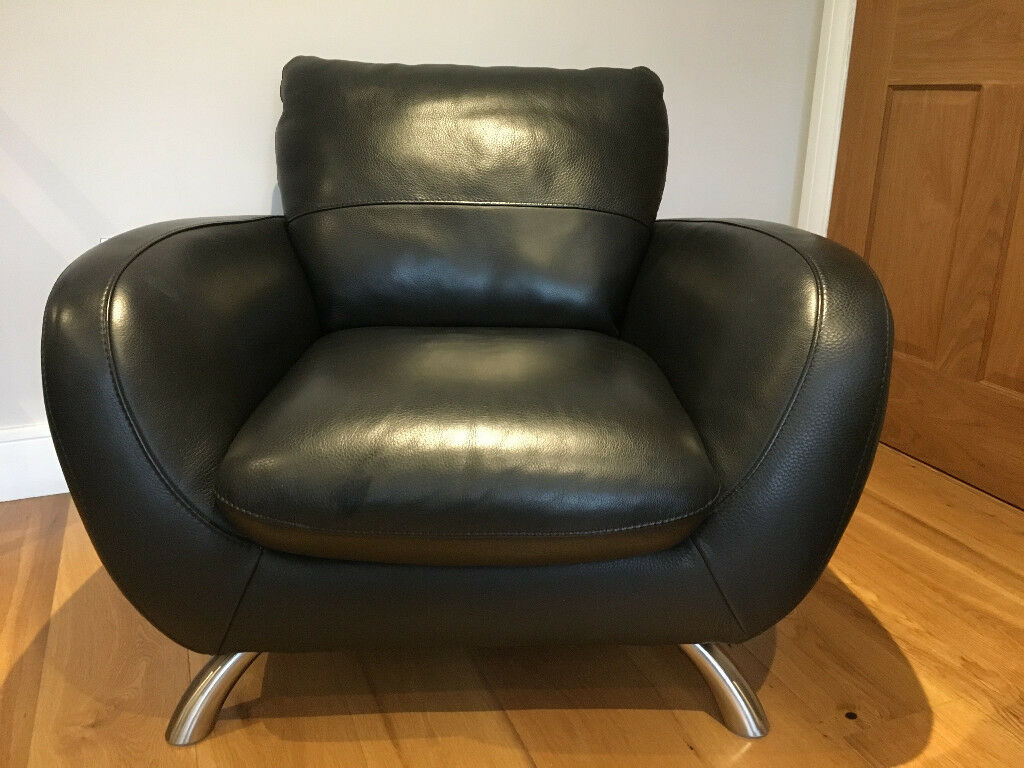 Italsofa Natuzzi Group Leather Armchair Black With Silver Feet Euc