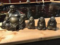 Stone Buddha Set Outdoor Indoor Garden Stone Concrete Cast Statue Ornament Koi
