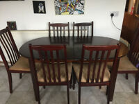 McIntosh Dark Teak Extending Dining Table with 6 Chairs Furniture by McIntosh