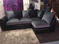 New Monico Right-Hand Single Arm Corner Chaise Sofa in Black And Grey
